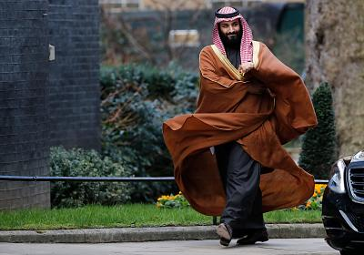Saudi Arabia\'s Crown Prince Mohammed bin Salman arrives for talks at 10 Downing Street on March 7, 2018 in central London.