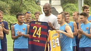 Barca Fan Kobe Bryant trifft den FC Barcelona