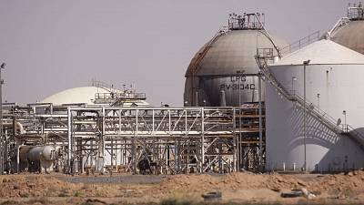 An oil and natural gas refinery that is guarded by a U.S. base in Deir ez-Zor, Syria.