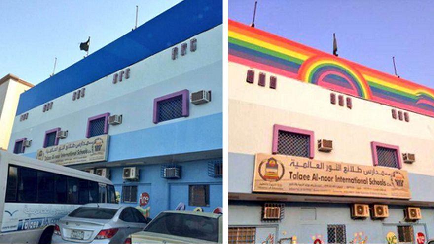 """Arabia Saudí: represión por pintar un arcoíris, """"símbolo de homosexualidad"""", en un colegio"""