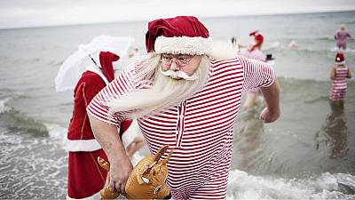 Santas take a dip in Denmark