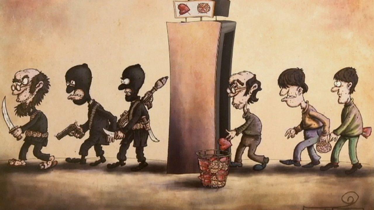 Karikatúrákkal küzd Irán az Iszlám Állam ellen