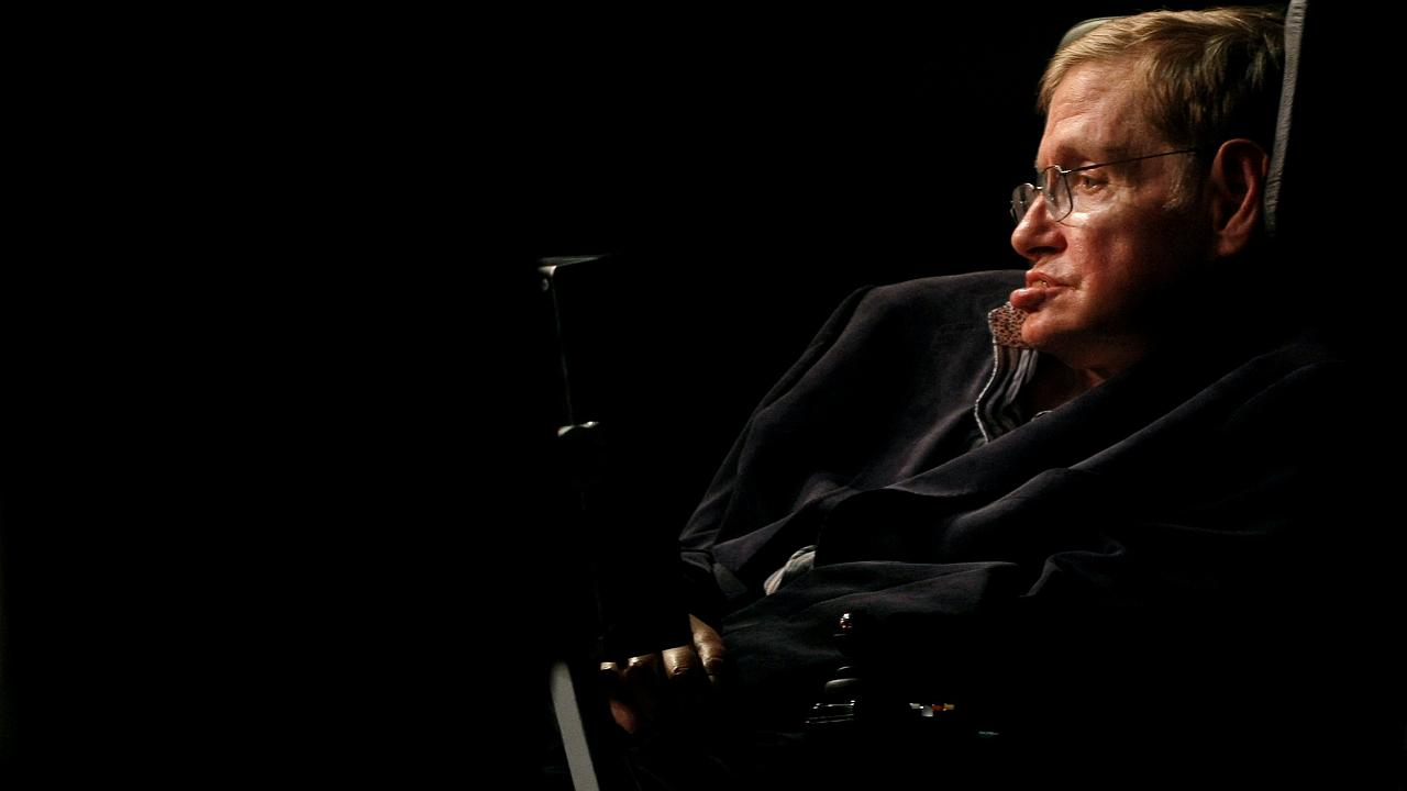 Image: Theoretical physicist Stephen Hawking addresses a public meeting in