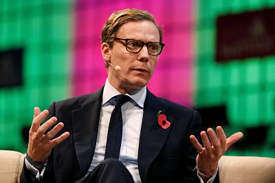 Cambridge Analytica CEO Alexander Nix speaks during the Web Summit, Europe\'s biggest tech conference, in Lisbon, Portugal on Nov. 9, 2017.