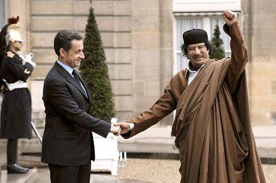 Moammar Gadhafi meets Nicholas Sarkozy at the Elysee Palace in Paris in 2007.