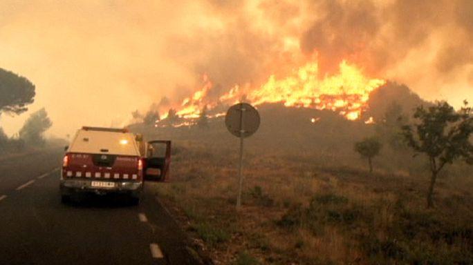 Erdőtűz Spanyolországban és Franciaországban