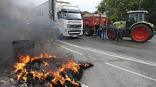 Французские фермеры блокируют дороги на границах с Германией и Испанией
