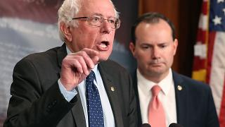 Image: Senator Sanders, Lee, And Murphy Hold News Conference On Removing U.