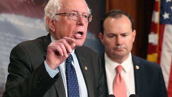 Image: Senator Sanders, Lee, And Murphy Hold News Conference On Removing U.