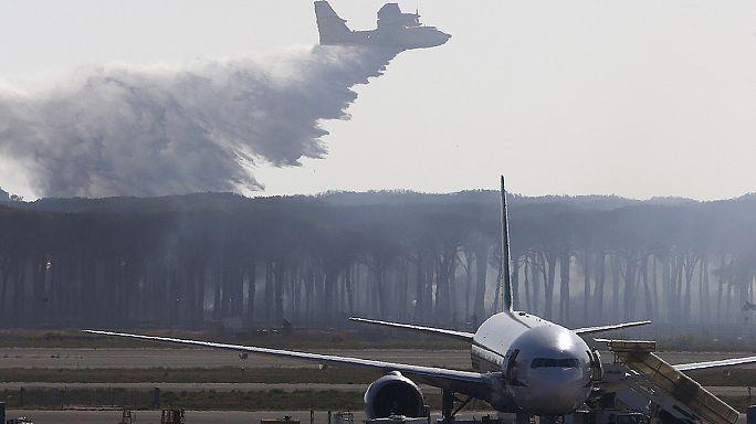 Erdőtűz a fiumicinói repülőtérnél