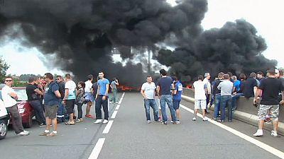 Protest von Fährarbeitern in Calais
