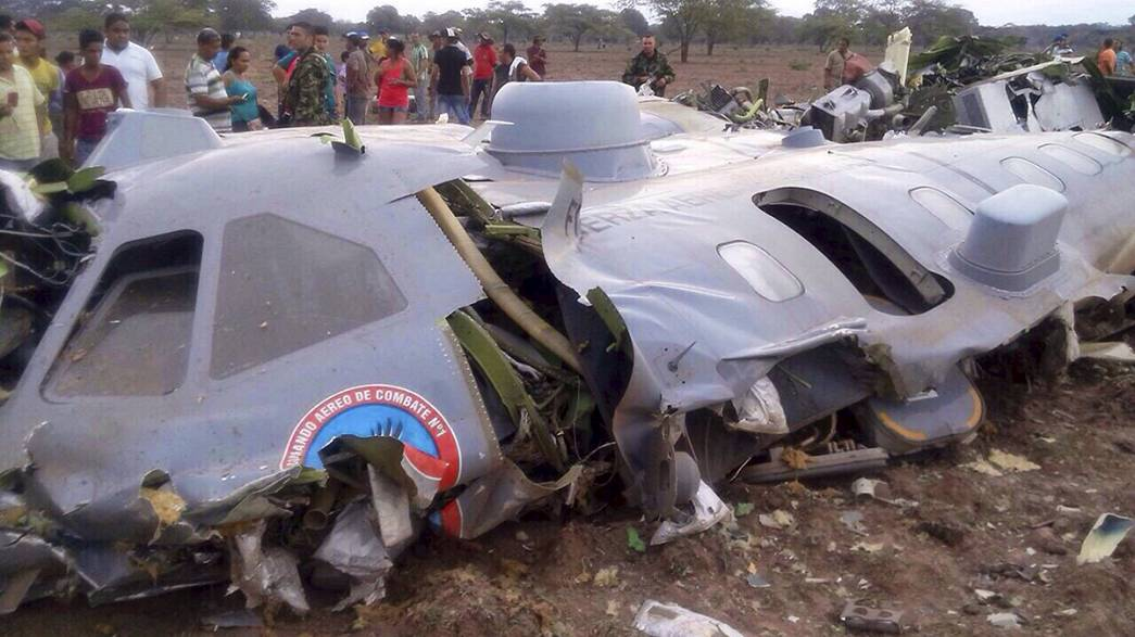 Colombia military plane crashes killing all eleven on board