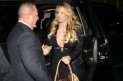 Stormy Daniels arrives to perform at the Solid Gold Fort Lauderdale strip club on March 9 in Pompano Beach, Florida.