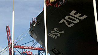 """Größtes Containerschiff """"MSC Zoe"""" in Hamburg getauft"""