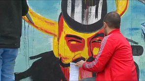Maler protestieren gegen Öl- und Gasbohrungen in der Arktis