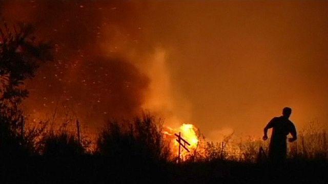 Лесной пожар в Эстремадуре