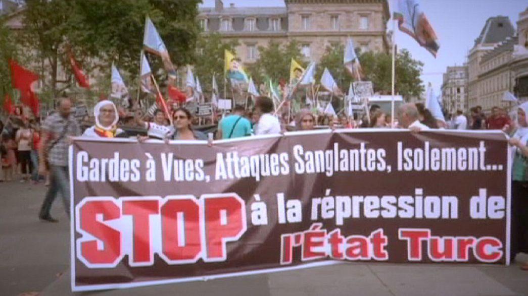 Manifestaciones en Europa para denunciar los bombardeos del Ejército turco contra la guerrilla kurda del PKK