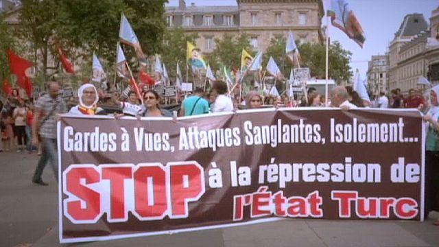 تظاهرات للأكراد في عدد من العواصم الأوروبية احتجاجا على الغارات التركية ضد متمردي حزب العمال الكردستاني