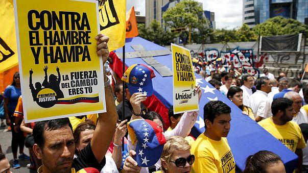 Venezuelan opposition hold protestin Caracas against food shortages