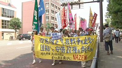 Hundreds rally against security bills as Nagasaki marks bomb anniversary