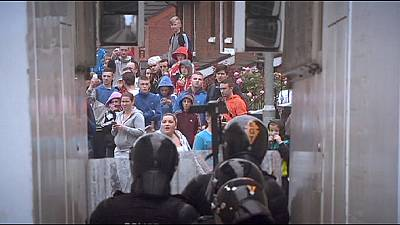 Confrontation at Belfast republican rally