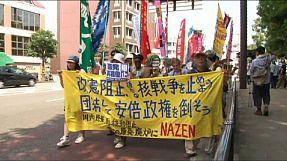 Manifestantes em Nagasáqui afirmam novas propostas de lei colocam em risco a Constituição pacifista do Japão