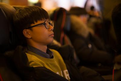 Ju Cheol Kwang, 16, plays a video game at an internet caf? in Seoul, South Korea, in February 2018.