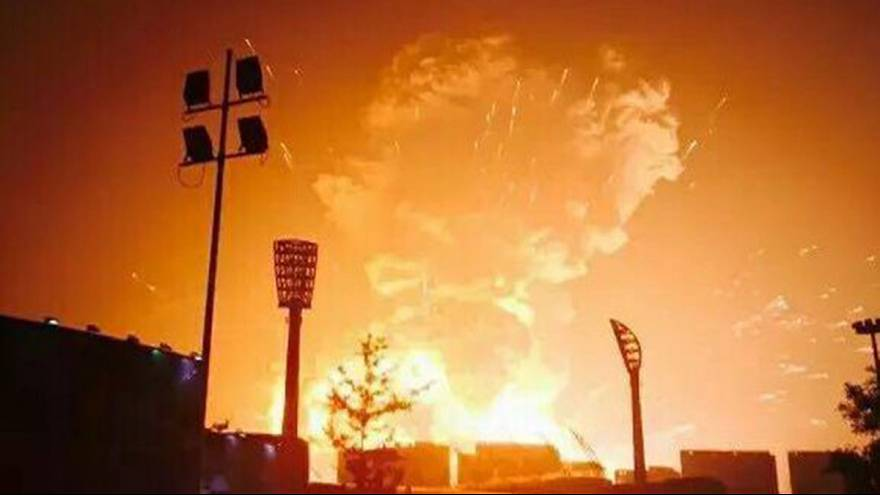 Video footage shows massive explosion in Tianjin, China