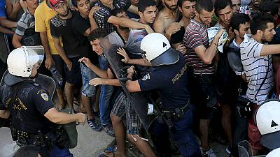 A second day of scuffles with police as the Greek island of Kos struggles to cope with hundreds of migrants