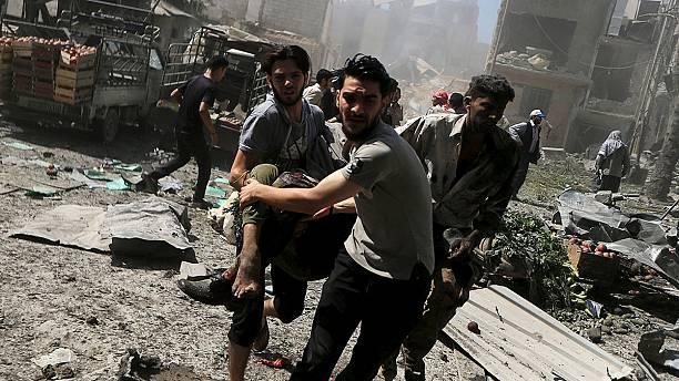 Eight die in Syrian airstrikes