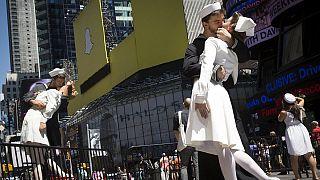 70 años del beso de la victoria en Times Square