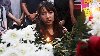 Tailandeses e turistas assustados com as bombas em Banguecoque