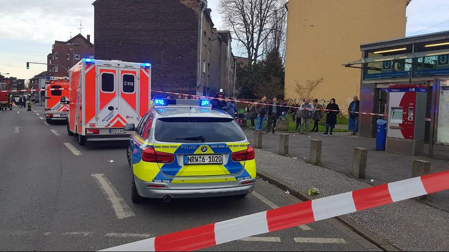Image: Emergency services respond to an incident at the Auf dem Damm subway
