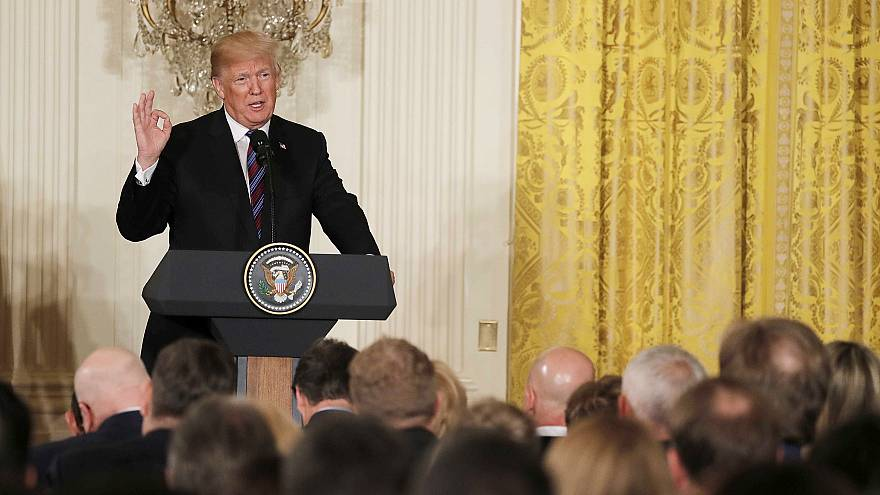 Image: U.S. President Trump speaks during a joint news conference with Balt