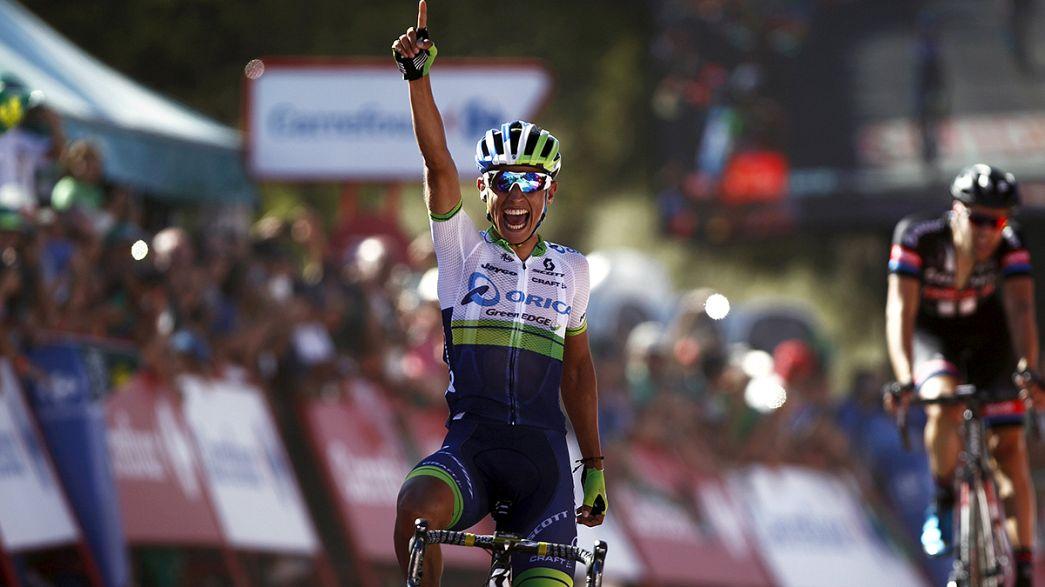 Esteban Chaves gana la segunda etapa de la Vuelta y Vincenzo Nibali expulsado