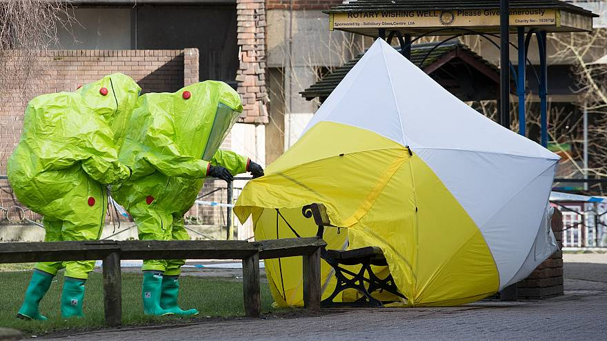 Image: Forensic experts at the scene in Salisbury, England where ex-spy Ser
