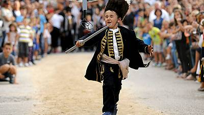 Child competes in traditional Croatian tournament