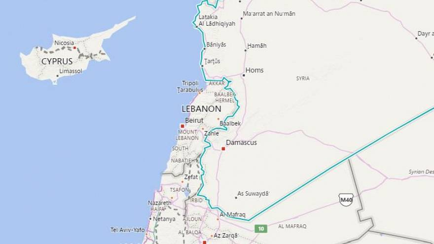 Image: A map showing Syria, Lebanon and Israel