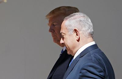 President Donald Trump and Israel\'s Prime Minister Benjamin Netanyahu make their way to the Oval Office on March 5.