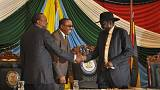 South Sudan's president finally signs delayed peace deal