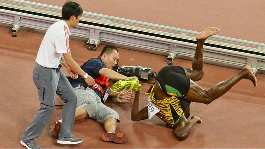 Usain Bolt felled by cameraman on segway