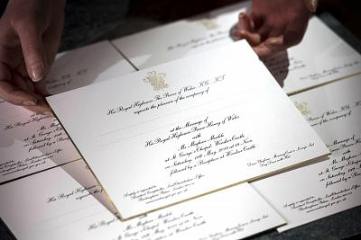 Invitations for Prince Harry and Meghan Markle\'s wedding in May, after they have been printed at the workshop of Barnard and Westwood in London.