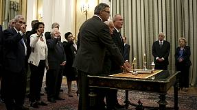 Greek caretaker government sworn in ahead of early elections
