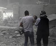 Syrian regime accused of bombing civilians in Damascus suburb