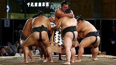 Sumo wrestlers perform in Tokyo