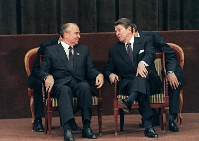 President Ronald Reagan meets with Soviet leader Mikhail Gorbachev during a summit between the superpowers in Geneva on Nov. 21, 1985.
