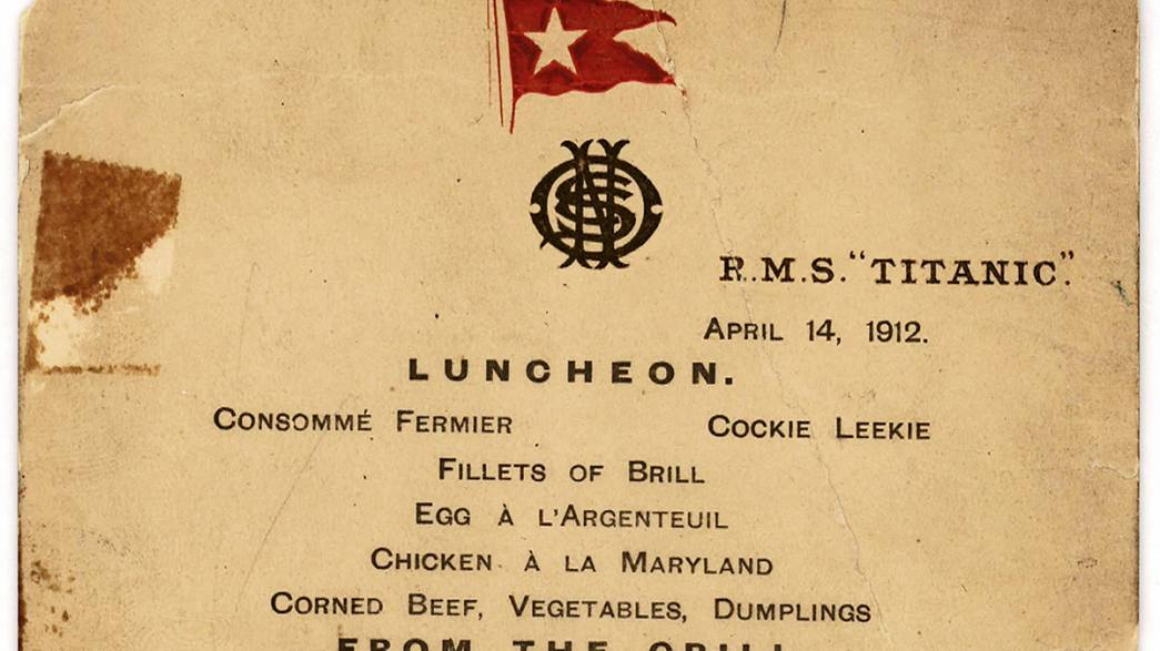 Titanic's last lunch menu to be auctioned