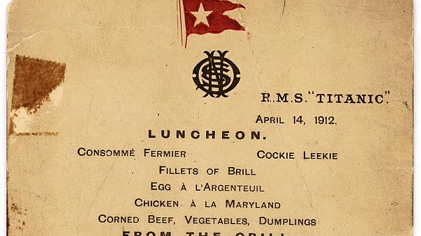 A subasta en NY el último menú del Titanic