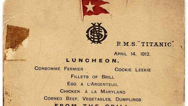 """Меню последнего обеда на """"Титанике"""" пойдет с молотка"""