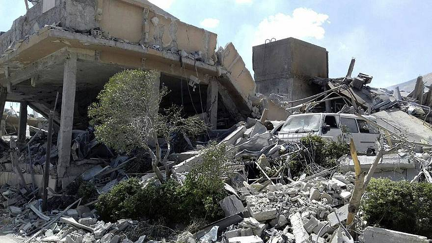 Image: Damage to the Syrian Scientific Research Center after it was attacke